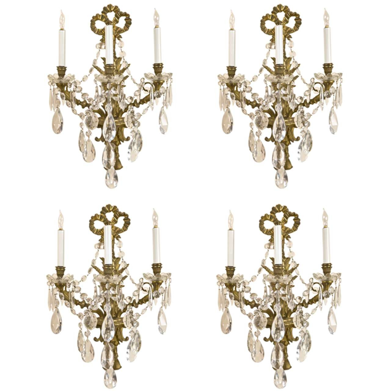 Set of Four Brass and Crystal Wall Sconces at 1stdibs