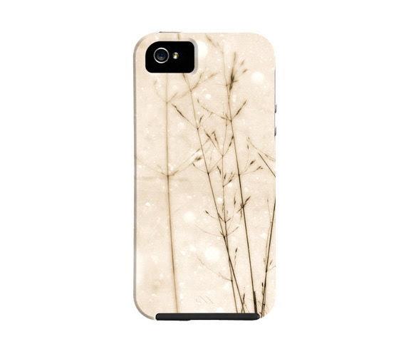 Snow iPhone 5 case, winter, snow, field grass, nature, winter iphone 4 case, iphone 4 case, iphone cover, gift, - semisweetstudios