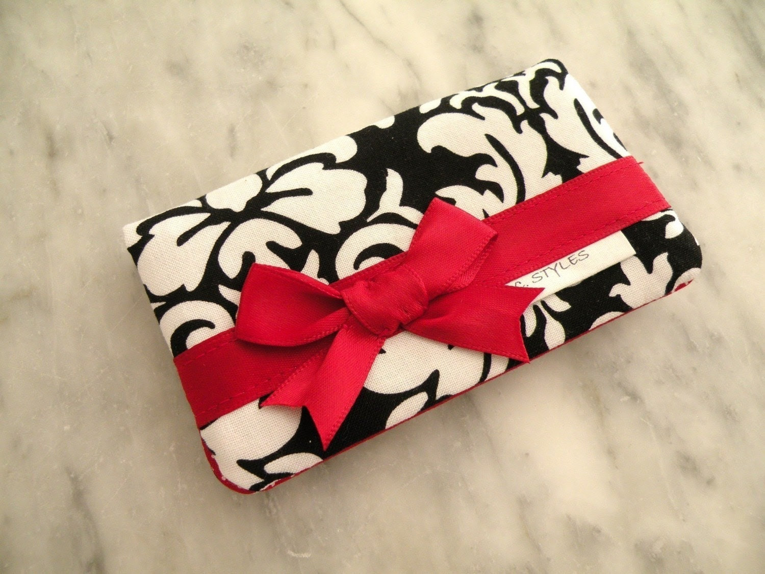 Card Holder--Business Card Holder--Black-White Dandy Damask with Red Satin Bow