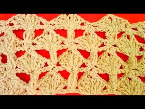 فيديو شرح طريقة عمل غرزة مروحة منتفخة جميلة تصلح لعمل سجادة  كروشية Crochet stitches PUFF dots-to make beautiful rugs  كروشيه