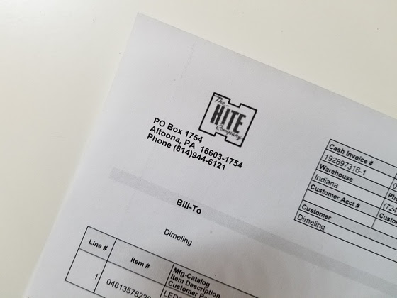 Light bulb invoice