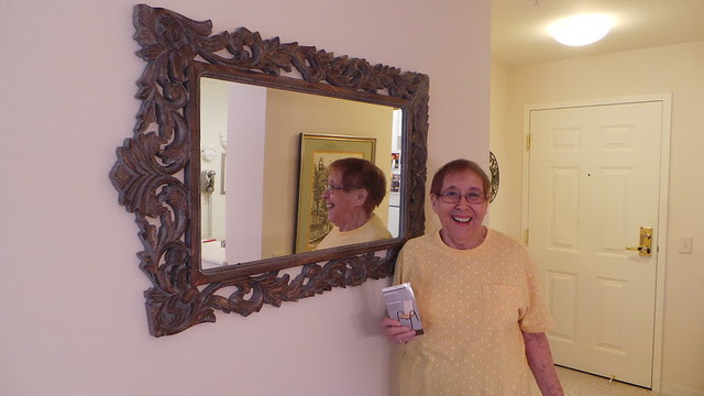 Millie with new mirror at Brooksby Village