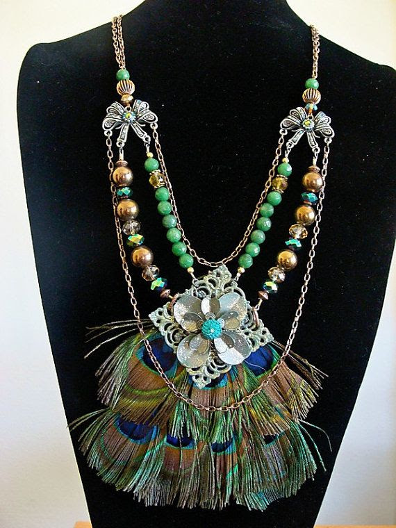 FEATHER PEACOCK NECKLACE by tanialapodesigns on Etsy, $175.00
