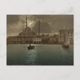 Vintage Istanbul cityscape with moon light Post Card