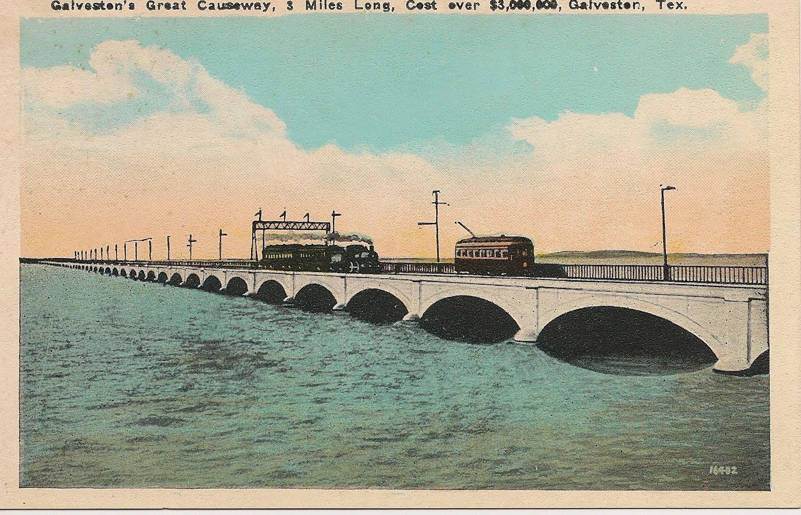 Galveston Causeway: Vintage Linen Look Postcard