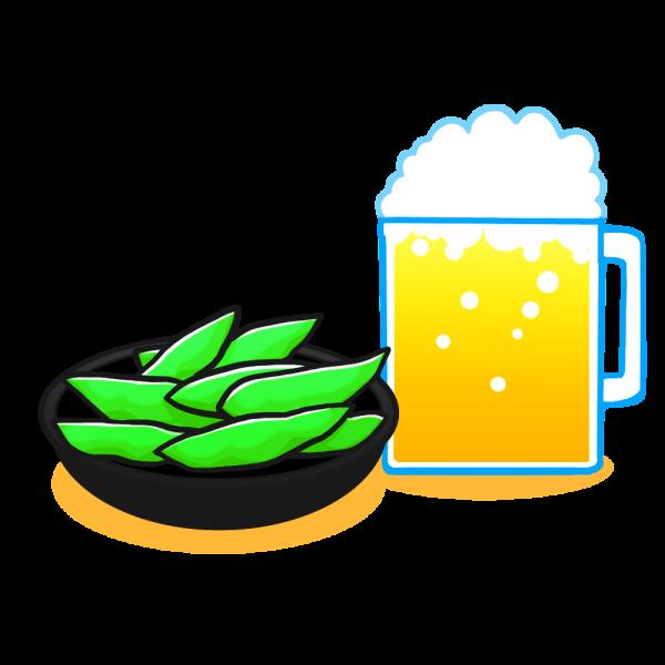 枝豆とビールのイラスト かわいいフリー素材が無料のイラストレイン