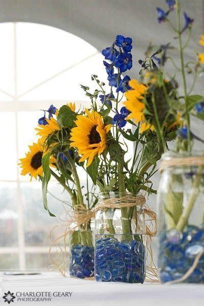 Sunflower Mason Jar Centerpieces / wedding ideas