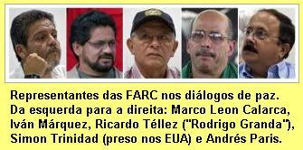 Representantes das FARC nas negociações de paz.
