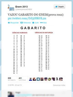 Suposto gabarito do Enem foi postado no Twitter (Foto: Reprodução/Twitter)