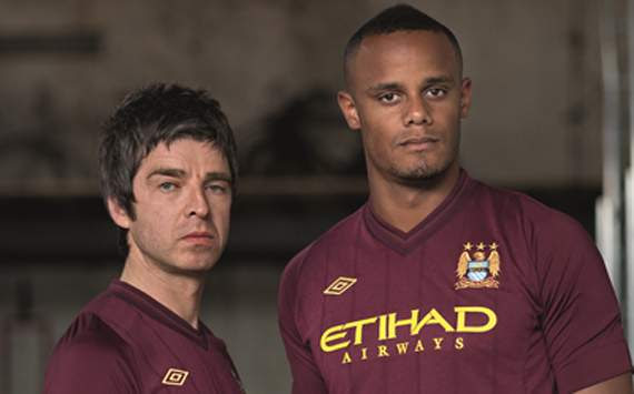 Manchester City Football Club's kit launch, Noel Gallagher and Vincent Kompany