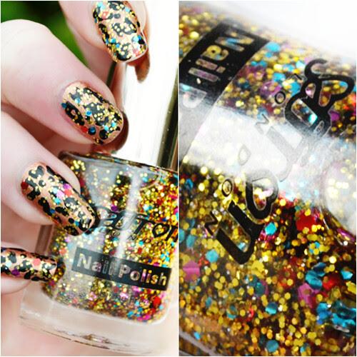 Saffron glitter nail polish leopard print