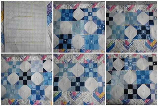 Blue and white quilt - July's progress