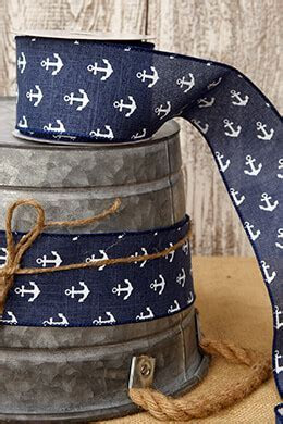 Nautical Ribbon Navy Blue with White Anchors 2.5in x10 yds
