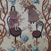 芭梅菈‧埃米亞,不折磨我的那部份That part that do not torments me,木刻版印於二十世紀初法國布料、印花棉布、線,77 x 45 cm,2013