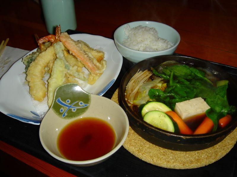 Tempura and Vegetable Sukiyaki Combo