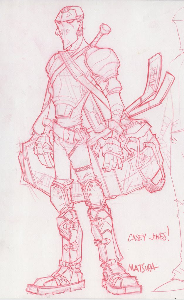"'Casey Jones' character design pencils for ""TMNT"" [4] by Jeff Matsuda.."