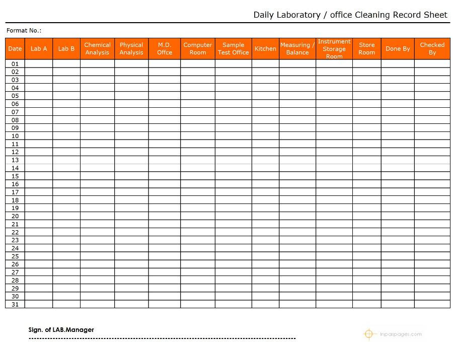 Laboratory / Office Daily Cleaning Record Sheet Format   Word ...