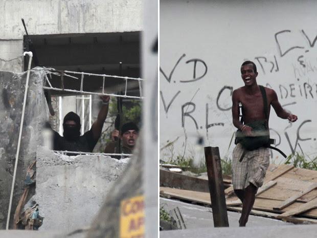 Traficantes armados no Complexo do Alemão, para onde fugiram bandidos que estavam na Vila Cruzeiro na quinta-feira durante operação da polícia.