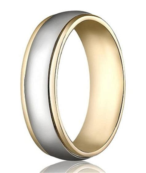 14K Yellow & White Gold Wedding Band   6 mm Designer Two