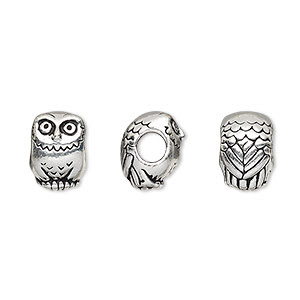Bead, TierraCast®, antiqued silver-finished pewter (tin-based alloy), 12x8.5mm owl with 4mm hole. Sold individuallyand Beads