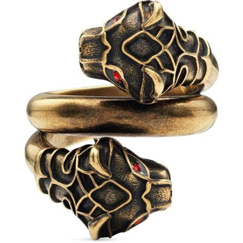 Gucci Tiger Head Ring ($325) liked on Polyvore featuring
