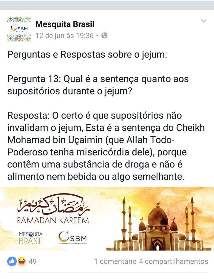 Mesquita Brasil supositórios no Ramadã