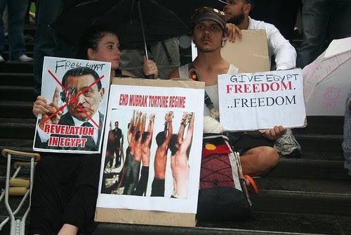 End torture by the Mubarak regime - Egypt Uprising protest Melbourne 4 Feb 2011