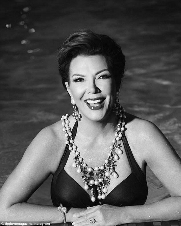 Sexy at 60: Kris Jenner looked far younger than her years in the short video clip which saw her modelling a black halterneck one-piece as she lounged in a swimming pool