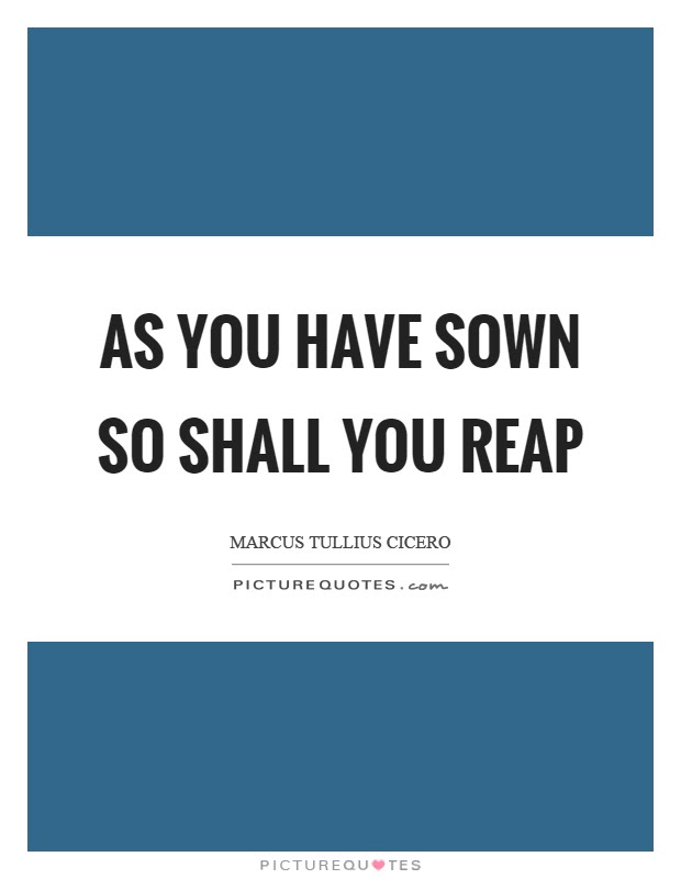 As You Have Sown So Shall You Reap Picture Quotes