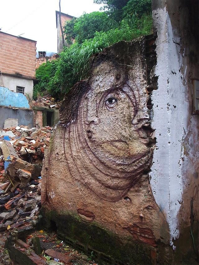 The Distorted Street Faces of Andre Muniz Gonzaga street art faces Brazil