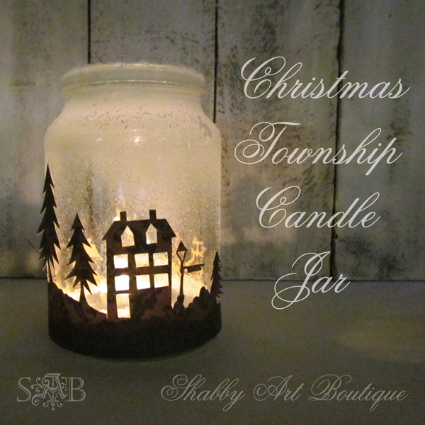 Shabby Art Boutique Christmas Township Candle Jar  - the scoop