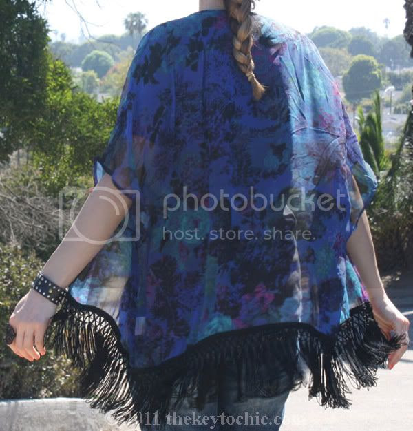 floral fringe kimono, southern California fashion blog
