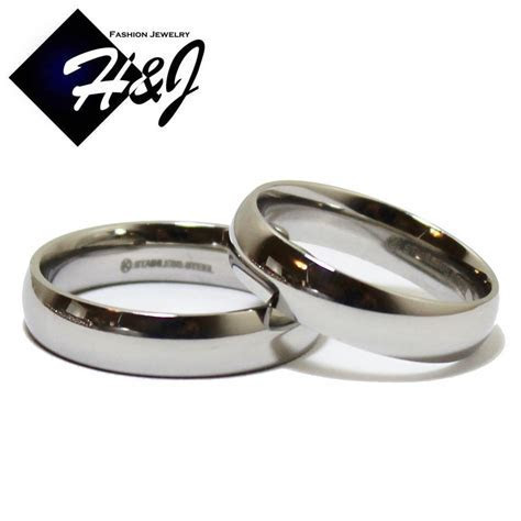 His & Hers 2 Pcs Stainless Steel 5mm Silver Plain Simple