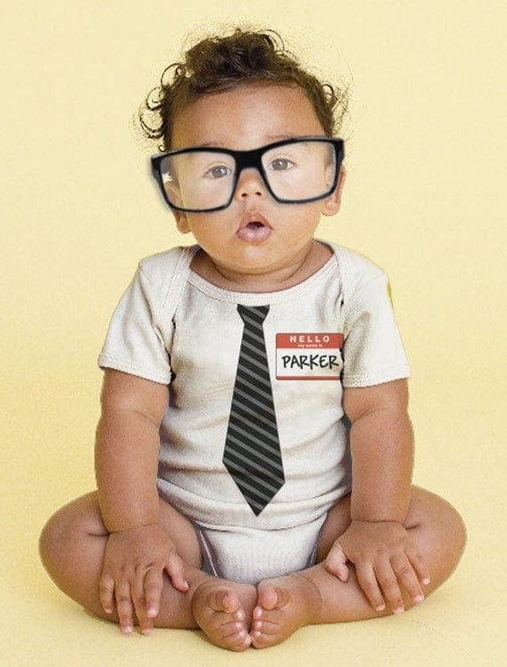 The New Guy - Tie Baby Onesie, Personalized Infant Geek, Geekery, Custom Boy Tie Bodysuit