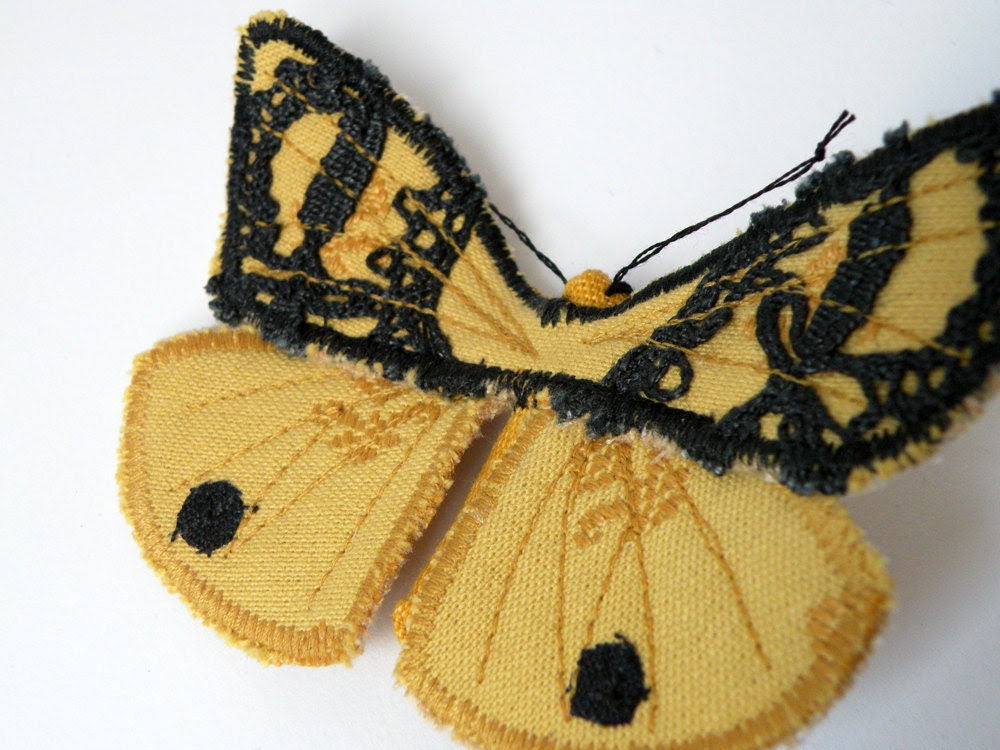 Handmade Black and Yellow Fabric Butterfly/Moth Brooch with Antique Lace