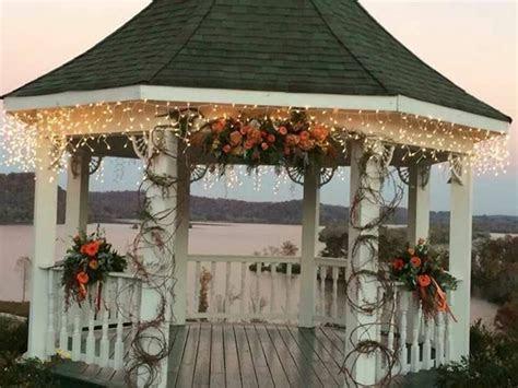 fall flowers for wedding at gazebo   wedding flowers by