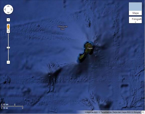 Pistas en el fondo marino cerca a la isla de Pagán