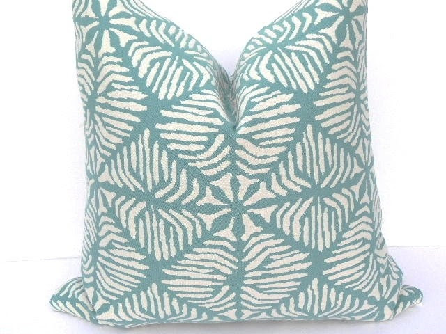 Last One-Both Sides-19x19-(fits 20X20 Insert)Decorative Pillow Cover-Geometric Diamond Print Home Decor Fabric-Turquoise-White-Throw Pillow