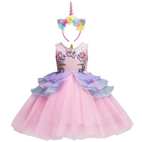 flower girl unicorn dress tutu princess cosplay costumes