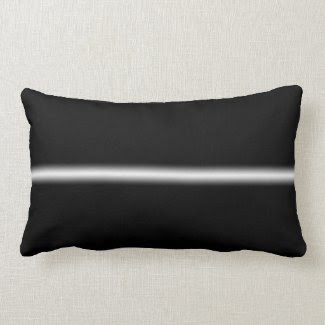 Faded White Stripe on Black Throw Pillow