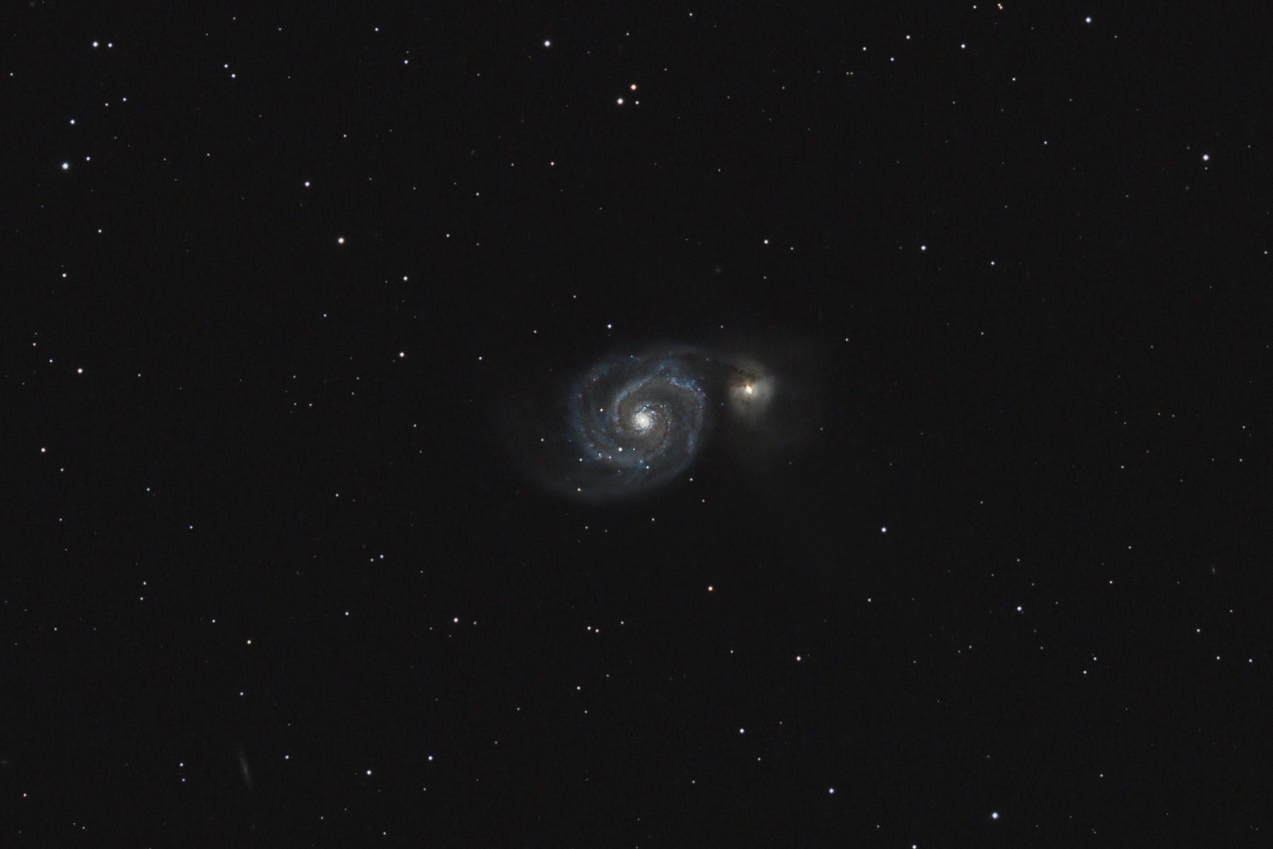 A narrower view of M51, the Whirlpool Galaxy
