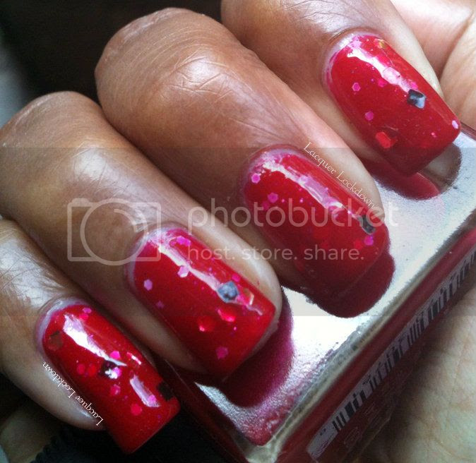 Lacquer Lockdown - NailsIT, NailsIT Angelique, swatch, swatches, red glitter polish, jelly polish, jelly finish, jelly sandwich, LLDBHB, NailsIT giveaway
