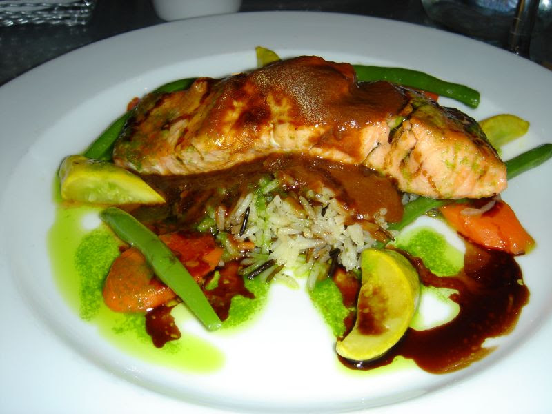 Grilled Salmon with vegetables over wild rice