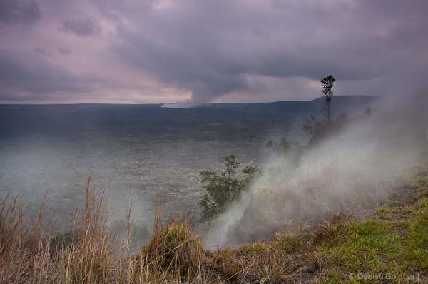 vog, mist, crater rim drive, hawaii volcanoes national park