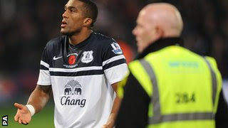 Sylvain Distin confronted Everton supporters following the 0-0 draw at Selhurst Park