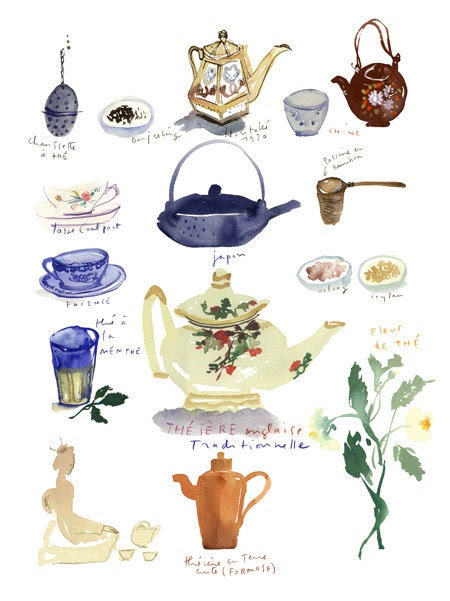 Tea poster - Tea time - 11 X 14 Limited edition print No 4/50 - Teapots illustration print