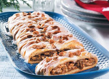 Pumpkin Pecan Braid filled with pumpkin, brown sugar & pecans & topped with a simple glaze.  Yummy & so easy. Serve for brunch or dessert.