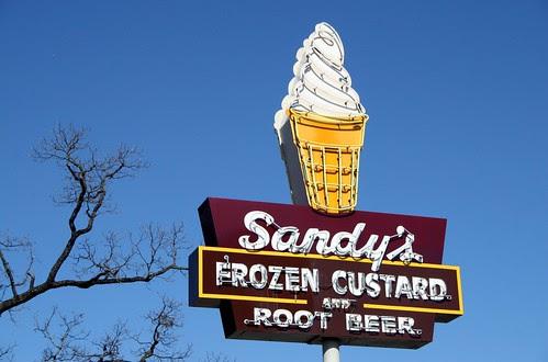 sandy's frozen custard and root beer neon sign