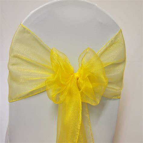 Covers Decoration Hire   Sash Yellow Organza   Covers