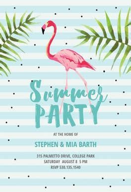 Chill with Flamingo   Pool Party Invitation Template (Free